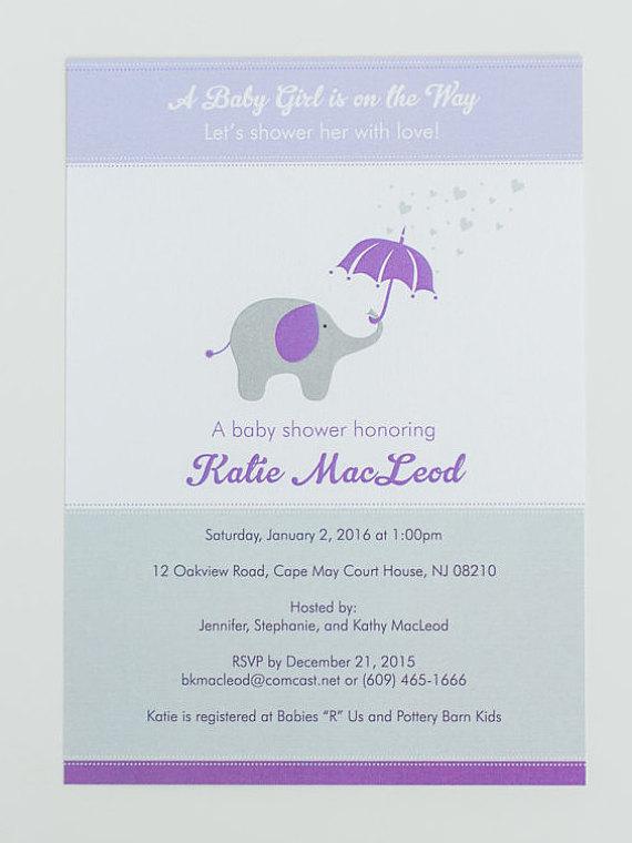 Elephant baby shower invitation purple wagon designs filmwisefo